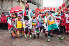 Clowns taking part in Stramilano half marathon Royalty Free Stock Image