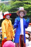 The clowns. Two funny face clowns have perform in the Indonesian president inauguration day carnival Royalty Free Stock Photos