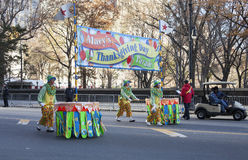 Clowns walking with Macys Parade sign Royalty Free Stock Image