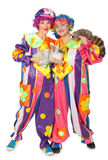 Clowns wiht rabbit and raccoon Stock Photos