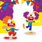 Clowns for your party banner vector illustration. Funny characters and different circus accessories. Cartoon clown vector illustration