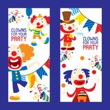 Clowns for your party set of banners vector illustration. Funny characters and different circus accessories. Cartoon vector illustration