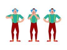Clownsatz Funnyman verwirrt und verärgert Harlekin blinzelt und Daumen oben Auch im corel abgehobenen Betrag stock abbildung