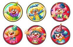 Clowntecken på runda emblem stock illustrationer