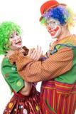 Clownversuche, zum eines weiblichen Clowns einzuschnüren Lizenzfreies Stockbild