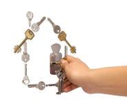 clés de maison effectuées Images libres de droits