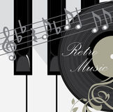 Clés, disque et notes de piano. Fond de musique Photos libres de droits