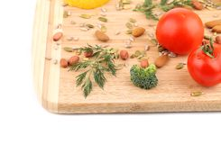 Clseup of nuts and vegetables. Stock Photography