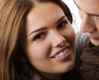 Clsoe up of models as couple hugging Royalty Free Stock Photography