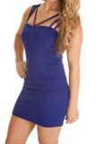 Clsoe up side blond blue dress Stock Photo