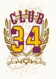 Club 34. Ribbons and flowers on the 34-digit graphic design royalty free illustration