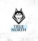 Club all'aperto di stile di vita attivo di nord geografico Concetto del segno di Husky Dog Face Illustration Strong su fondo appr royalty illustrazione gratis