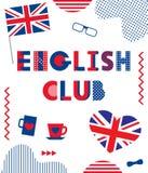 Club anglais Police géométrique à la mode Textotez, drapeau britannique, coeur, tasses, verres, noeud papillon et éléments géomét illustration libre de droits