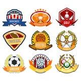 Club atletico di campionato di simbolo della concorrenza della lega dell'emblema del campione dell'etichetta di torneo del gioco  illustrazione vettoriale
