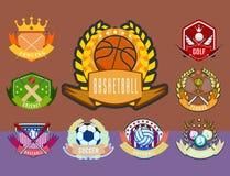 Club atletico di campionato di simbolo della concorrenza della lega dell'emblema del campione dell'etichetta di torneo del gioco  royalty illustrazione gratis