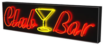 Club Bar Neon Sign Isolated Royalty Free Stock Images