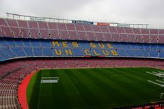 Club Barcelona del fútbol del estadio de Camp Nou imágenes de archivo libres de regalías