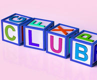 Club Blocks Mean Membership Registration Stock Photos