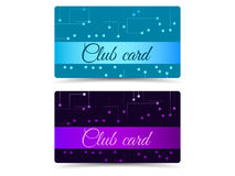 Club card. Club plastic card. Set club cards, gift cards. Stock Photo