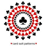 Club card suit snowflake. Awesome club card suit snowflake. Club in the middle surrounded with spades, diamonds and hearts Royalty Free Stock Image