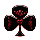 Club  for Cards. A black club detailed with red glowing elements Stock Photo