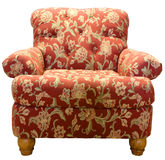 Club Chair. Country Style Club Chair  in a Red Paisley Fabric Pattern Stock Images