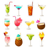 Club Cocktails Icons Set Royalty Free Stock Photography
