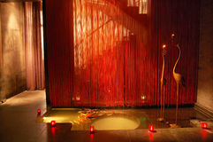 A club Corridor. S, the pond layout, lighting, candles, window screening Stock Photo