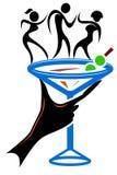 Club dance. Isolated silhouette line art logo design vector illustration