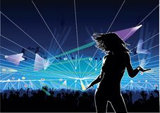 Club dancer 01 disco trance. The girl in the dancing pose on the big disco background Stock Photos
