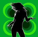 Club dancer 01 green. The girl in the dancing pose on the big disco background Royalty Free Stock Photography