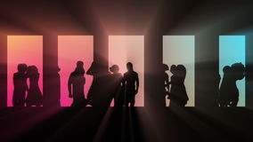 Club dancing silhouettes. stock footage