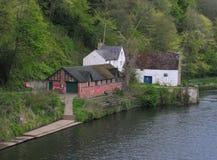 Club de bateau d'école de Durham et vieux moulin Photos stock