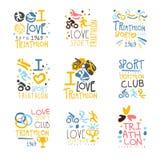 Club de défenseurs et de fans de triathlon pour les personnes qui ensemble de sport d'amour de calibres colorés de conception de  Images stock