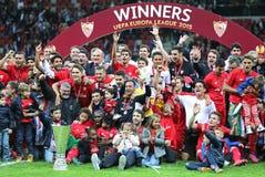 Club de FC Sevilla - el ganador de la liga 2015 del Europa de la UEFA imagenes de archivo