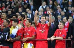 Club de FC Sevilla - el ganador de la liga 2015 del Europa de la UEFA foto de archivo