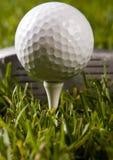 Club de golf avec la bille sur un té Image stock