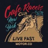 Club dei corridori del caffè di New York Manifesto del corridore del caffè del motociclo Immagini Stock Libere da Diritti