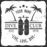 Club del buceo con escafandra Ilustración del vector libre illustration