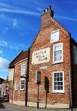 Club della collina del castello e vicolo di Drury, Lincoln, Lincolnshire Fotografia Stock