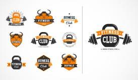Club di forma fisica, o logo della palestra, emblema, collezioni delle icone illustrazione vettoriale