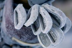 Club di golf coperti nel gelo spesso Fotografie Stock