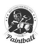 Club di sport di paintball con il migliore gioco per il logotype reale di monocromio di slogan degli uomini Immagini Stock