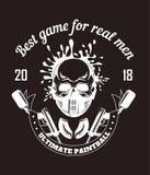 Club di sport di paintball con il migliore gioco per il logotype reale di monocromio di slogan degli uomini Fotografia Stock Libera da Diritti