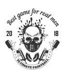 Club di sport di paintball con il migliore gioco per il logotype reale di monocromio di slogan degli uomini Fotografia Stock