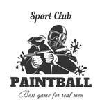 Club di sport di paintball per il logotype reale di monocromio degli uomini Immagine Stock