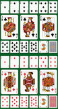 Club and Diamond suit. Full deck with #12877202. Club and Diamond suit. Jack, Queen and King double sized. Green background in a separate level in vector file Royalty Free Stock Images