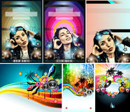 Club Disco Flyer Set with DJ Girl and palms Royalty Free Stock Photos