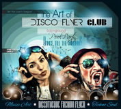 Club Disco Flyer Set with DJs and Colorful backgrounds Royalty Free Stock Image