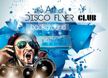 Club Disco Flyer Set with DJs and Colorful backgrounds Stock Photos